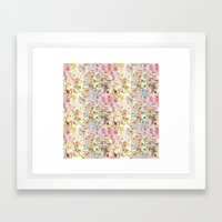 Abstract Springtime Watercolor Pattern Framed Art Print