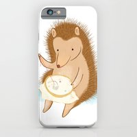 iPhone & iPod Case featuring Hedgehog stitching a hedgehog by Penguin & Fish