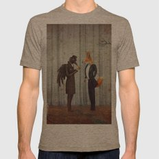 Raven and Fox in  a dark forest looking at the watch Mens Fitted Tee Tri-Coffee SMALL
