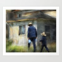 Follows In His Footsteps Art Print