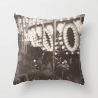 Fuzzy Carousel - B&W Throw Pillow