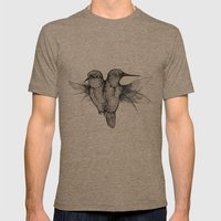 Conjoined Hummingbirds Mens Fitted Tee Tri-Coffee SMALL