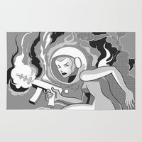 Space Girl with a Gun Rug