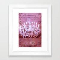 Paris Pink Crystal Chandelier Framed Art Print