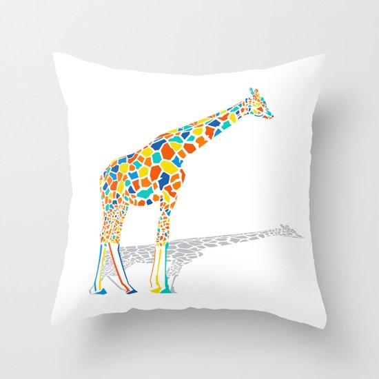 Technicolor Giraffe Throw Pillow