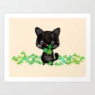 The Luckiest Cat Art Print