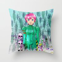 Portrait of 42 in Astro-Grunge Throw Pillow