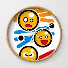 happy smiley trio Wall Clock