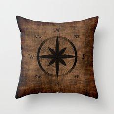 Nostalgic Old Compass Rose Throw Pillow