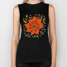Decorative Whimsical Orange Flower Biker Tank