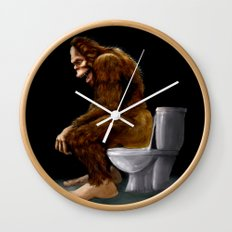 Bigfoot breaks into some Dude's Cabin and Totally takes a fat Dump in his toilet Wall Clock