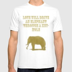 Elephant Love SMALL White Mens Fitted Tee