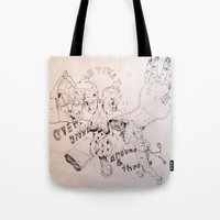 over around under and through Tote Bag