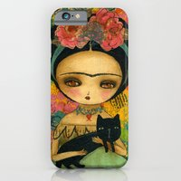 iPhone Cases featuring Frida And Her Cat by Danita Art