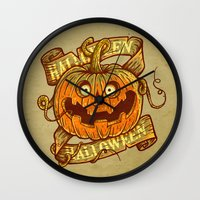 Halloween dark khaki Wall Clock