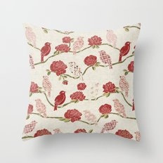 Nightingale and Rose Throw Pillow
