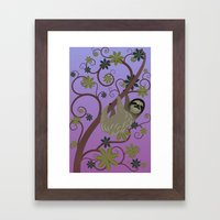 Sloth in a Tree Framed Art Print