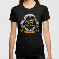 Amity Island Boat Hire Womens Fitted Tee Tri-Black SMALL
