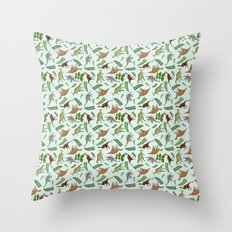 Dinosaurs & Leaves Throw Pillow