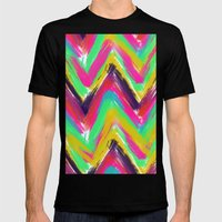 Bohemian multicolor oil paint chevron pattern Mens Fitted Tee Black SMALL