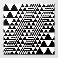 B/W equilateral triangles pattern Canvas Print