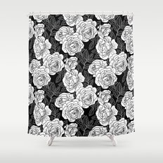 ROSE GARDEN BW Shower Curtain