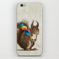 Squirrel with lollipop iPhone & iPod Skin