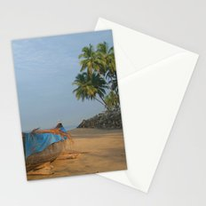 Boat and Palms on Black Beach Varkala Stationery Cards