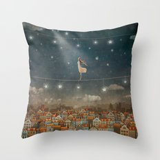 Illustration of  cute houses and  pretty girl   in night sky Throw Pillow