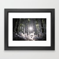 Arashiyama Bamboo in Winter Framed Art Print