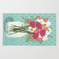 Vase of Daisies floral flowers spring summer mother's day illustration Andrea Lauren  Rug