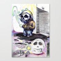 Just a skull kid waitin... Canvas Print