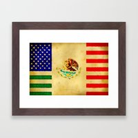 MEXICAN AMERICAN FLAG - 017 Framed Art Print