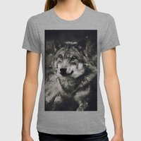Wolf II Womens Fitted Tee Tri-Grey SMALL
