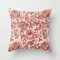 Toile de jouy (Roses) Throw Pillow