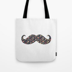 Funny Girly Mustache Pink Vintage Floral Pattern Tote Bag