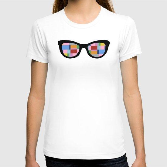 Square Eyes on Grey T-shirt