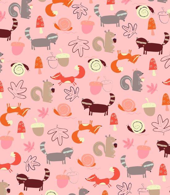 Pink Woodland Animals Art Print