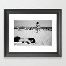 girls on beach Framed Art Print