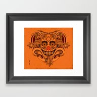 Framed Art Print featuring Halloween Crazy Heart by Chicca Besso