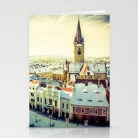 Cityscape Of Sibiu, Roma… Stationery Cards