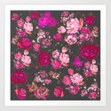 Vintage Inspired Floral with Magenta and Hot Pink Roses on Grey Background Art Print