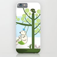iPhone & iPod Case featuring Polar bear play a swing by Caracheng