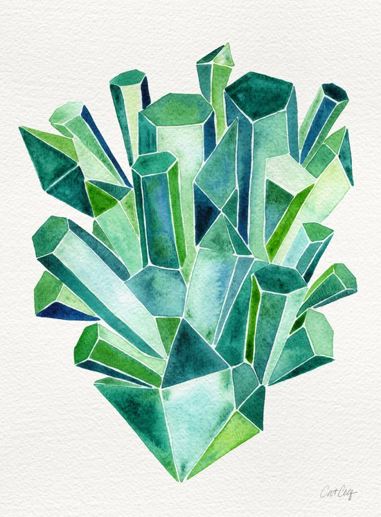 Emerald Watercolor Art Print