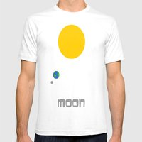 The Moon In Minimal Mens Fitted Tee White SMALL