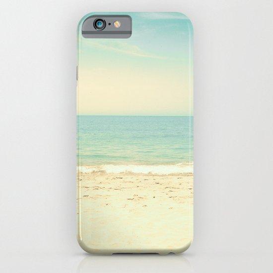 Pale blue retro beach  iPhone & iPod Case