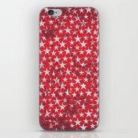 White stars on red grunge textured background  iPhone & iPod Skin