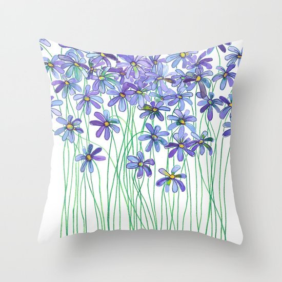 Purple Daisies in Watercolor & Colored Pencil Throw Pillow