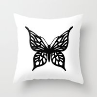 Butterfly Black On White Throw Pillow