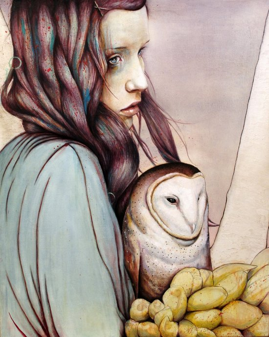 The Girl and the Owl Canvas Print